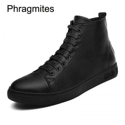 Phragmites black men boots plus size fashion sneaker men shoes leather all match black