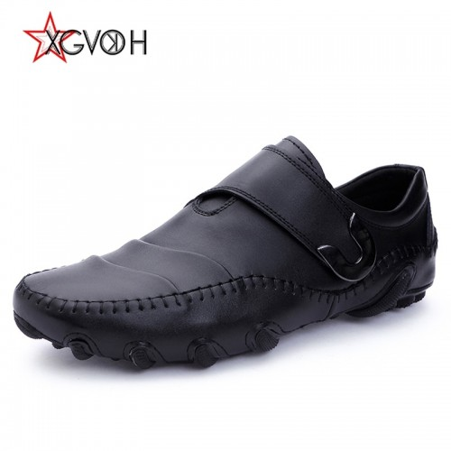XGVOKH Casual Boat Shoes Men Genuine Cow leather Loafers octopus driving moccasins