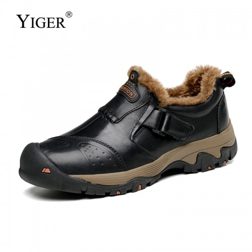 YIGER New Men casual shoes Big size 39 46 Autumn winter Outdoor hiking man shoes Genuine