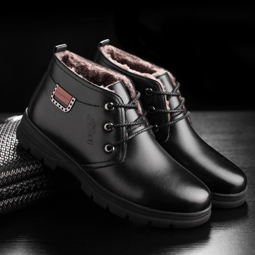 YIQITAZER Top Quality Rubber Soles Casual Men Shoes Snow Boots Winter Leather Handmade Lace up