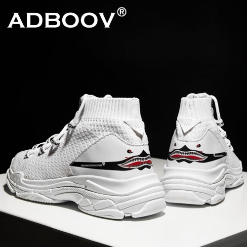 ADBOOV High Top Sneakers Men Unisex Knit Upper Breathable Shoes Fashion Shark Logo Couple Black White