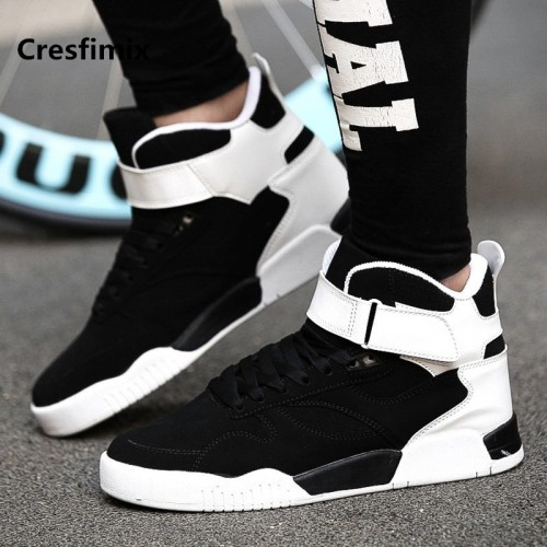 Cresfimix male fashion black white lace up high shoes men cool spring autumn shoes man