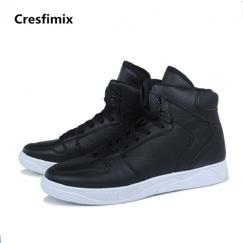 Cresfimix male fashion comfortable autumn winter black pu leather lace up high shoes men classic cool