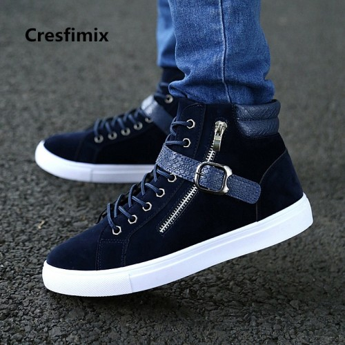 Cresfimix male high quality autumn winter black shoes men cool comfortable round toe lace up high