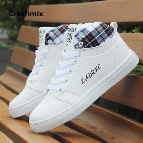 Cresfimix zapatos de hombre men fashion white lace up high shoes with letter male comfortable spring