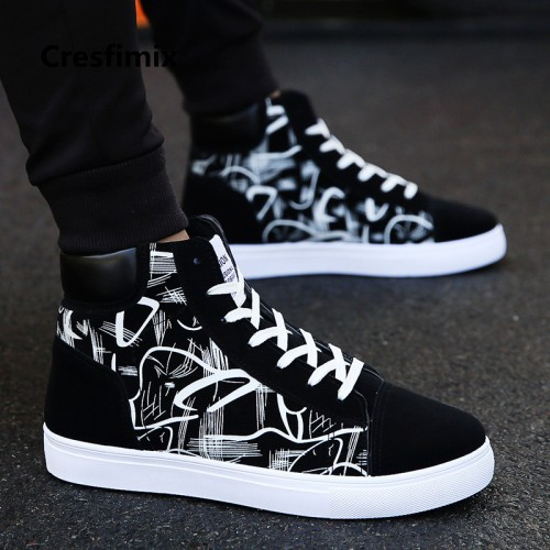 Cresfimix zapatos hombre male fashion new stylish black pattern high shoes men cool spring autumn comfy