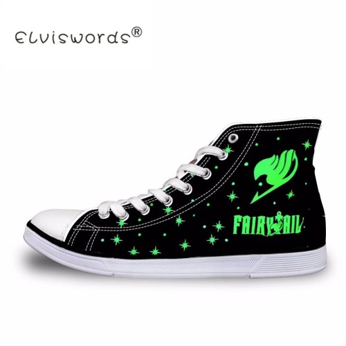 ELVISWORD Retro Men High Top Vulcanize Shoes Classic Anime Attack on Titan Fairy Tail Death Note