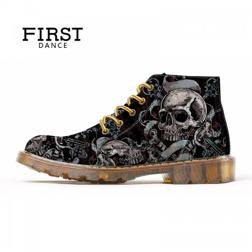 FIRST DANCE Fashion Mens Skull Shoes For Men Martins Shoes Skeleton Print Black Nice Ankle
