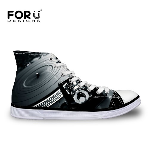 FORUDESIGNS 2018 New Autumn Men s Vulcaniz Shoes 3D Loundspeaker Prints Men High Top Lace UP