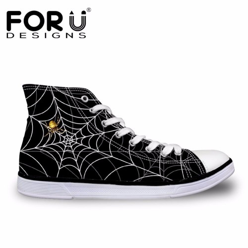 FORUDESIGNS 3D Spiderweb Printed Black Men s Vulcanized Shoes Fashion High Top Lace up Autumn Casual
