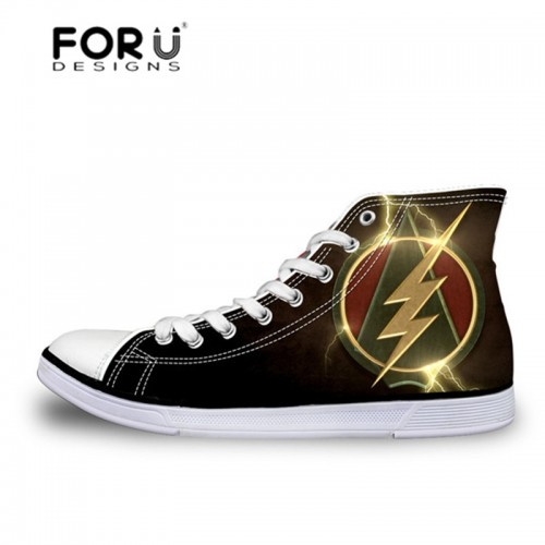FORUDESIGNS 3D Super Hero The Flash Pattern Vulcanized Shoes for Men Casual Flats Sneakers High Top