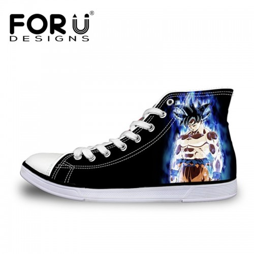 FORUDESIGNS Anime Dragon Ball Z Print High Top Men Vulcanized Shoes Cool Super Saiyan Son Goku