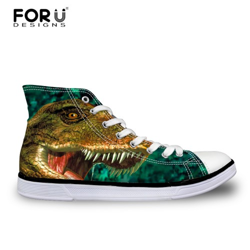 FORUDESIGNS Dinosaur Wolf Printed Men s Vulcanized Shoes Fashion High Top Lace up Autumn Casual Canvas