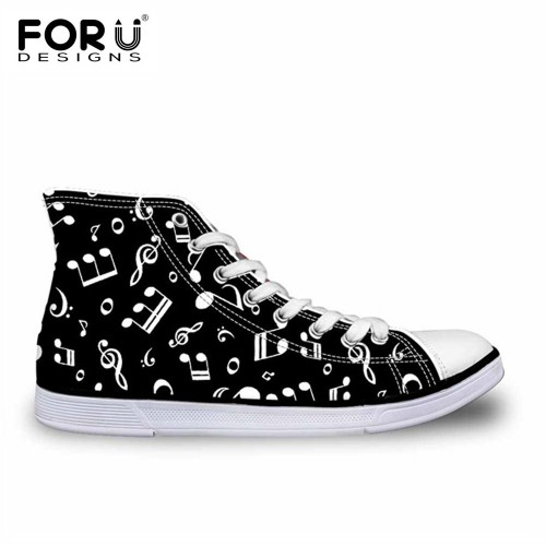 FORUDESIGNS Music Note 3D Print Men Vulcanized Shoes Casual Flats Men s Sneakers High Top Canvas