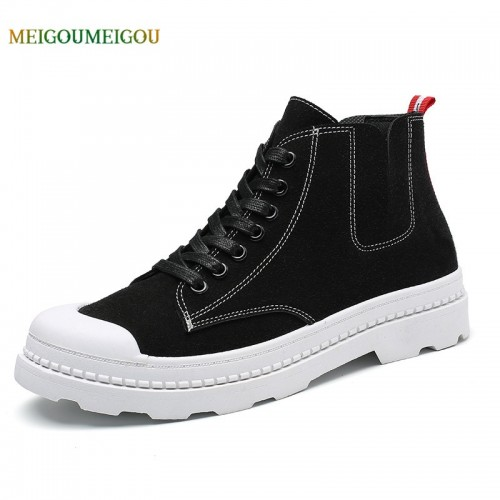 MEIGOUMEIGOU Simple Sewing High Men Vulcanize Shoes Height Increasing Solid Men Casual Shoes Durable Non slip