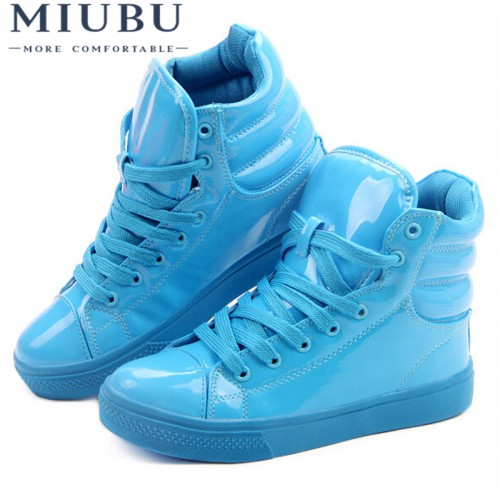 MIUBU New Arrival Lighted Candy Color High top Shoes Men Unisex Fashion Shoes Flat Platform Shoes