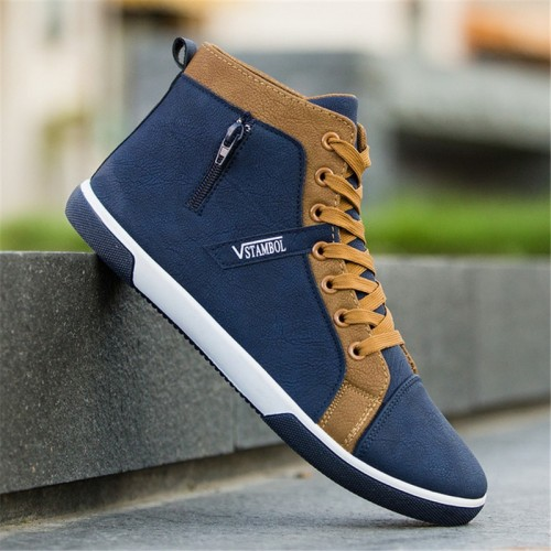 Men s Vulcanize Shoes Men Spring Autumn Top Fashion Sneakers Lace up High Style Solid