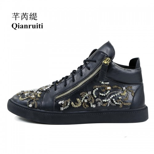 Qianruiti Men Rhinestone Embroidery Sneaker High Top Espadrilles Platform Flat Lace up Ankle Boots Top Zipper