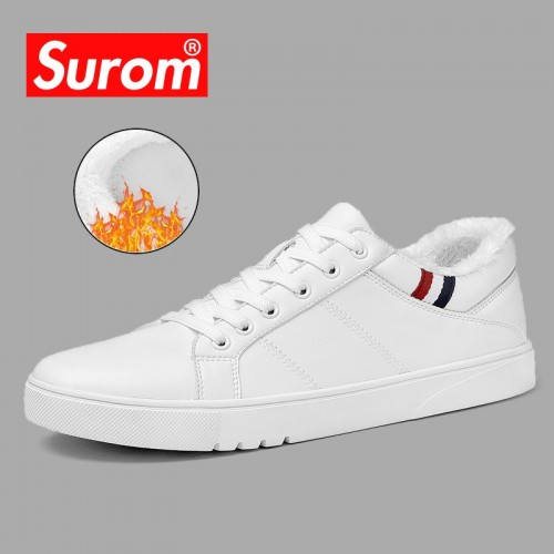 SUROM Spring New Men Casual Shoes Breathable Wear Resistant Shoes Comfortable Summer White Round Toe