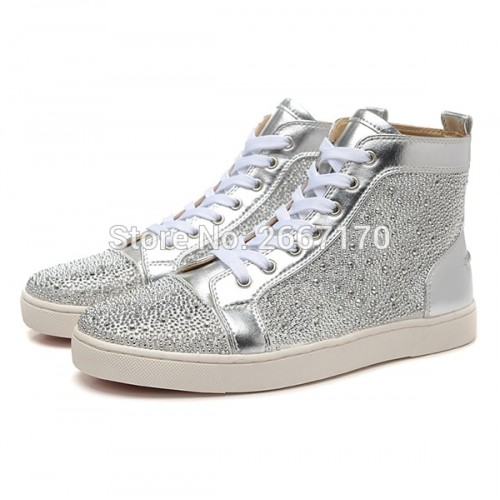 Shooegle Designer Luxury Man Shoes Zapatos Hombre Glitter Crystals Lace Up High Top Rhinestone Sneakers Men