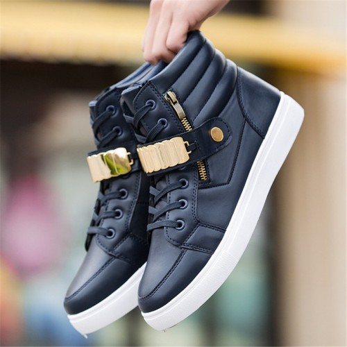 Trend Men s Vulcanized Shoes Black High Top Lace up Autumn Winter Pu Canvas Shoes