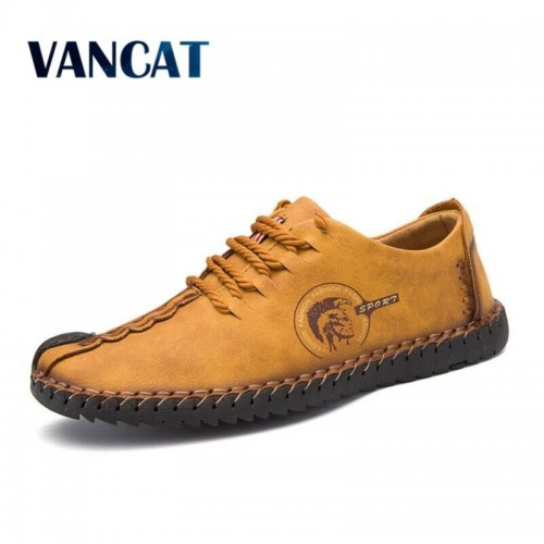 VANCAT New Comfortable Big size 38 46 Casual Shoes Loafers Men Shoes Quality Split Leather