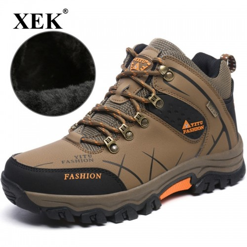 XEK Autumn Winter Patchwork Male Shoes Adult Sneakers For Men Safety Wear Resisting Walking Cow