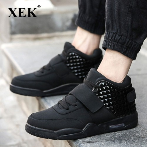 XEK Men Fashion Shoes Winter Casual Breathable High Top Shoes Flat Wedge Rubber Sole Leather Vulcanized