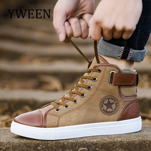 YWEEN Fashion Sneakers For Men Classic Lace up High Style Spring Autumn Vulcanized Flat With Casual