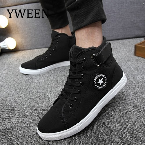 YWEEN Men s Vulcanize Shoes Men Spring Autumn Top Fashion Sneakers Lace up High Style Solid