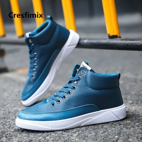 Zapatos De Hombre Male Fashion Blue Pu Leather Soft High Shoes Men Spring Autumn Black High