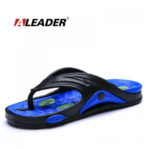ALEADER Summer Mens Flip Flops Cushion Insole Beach Shoes Massage Soft Walking Rubber Flip Flops Causal