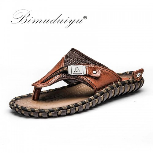 BIMUDUIYU Brand New Arrival Slippers High Quality Handmade Cow Genuine Leather Summer Shoes Fashion Men Beach
