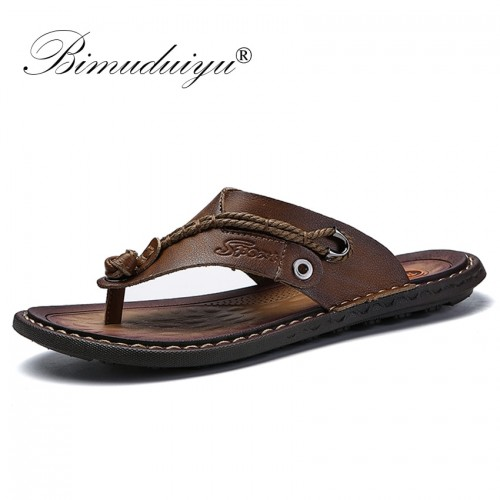 BIMUDUIYU Brand Summer New Arrival Summer Cool Men Flip Flops Rubber Soft Beach Shoes Non slide