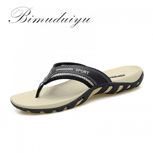 BIMUDUIYU Luxury Brand Men s Flip Flops Summer Fashion Beach Sandals Shoes For Men Comfortable Classic