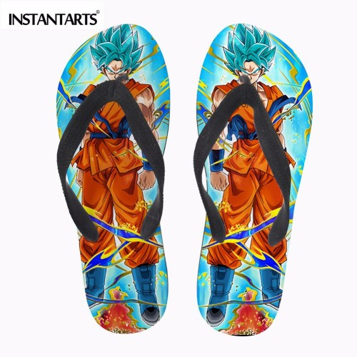 INSTANTARTS Fashion Anime Dragon Ball Z Print Mens Summer Slippers Cool Super Saiyan Son Goku Flip