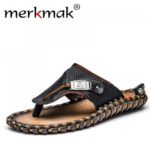 Merkmak Luxury Brand New Men s Flip Flops Genuine Leather Slippers Summer Fashion Beach Sandals