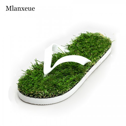 New Lovers Imitation Grass Men Flip Flops For Men Summer Beach Flip Flops Flat Shoe