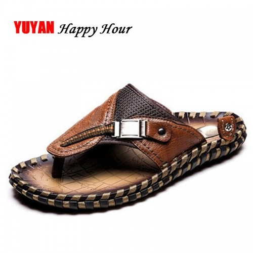 New Summer Genuine Leather Shoes Men Beach Slippers Flip Flops Fashion Shoes Men s Slippers