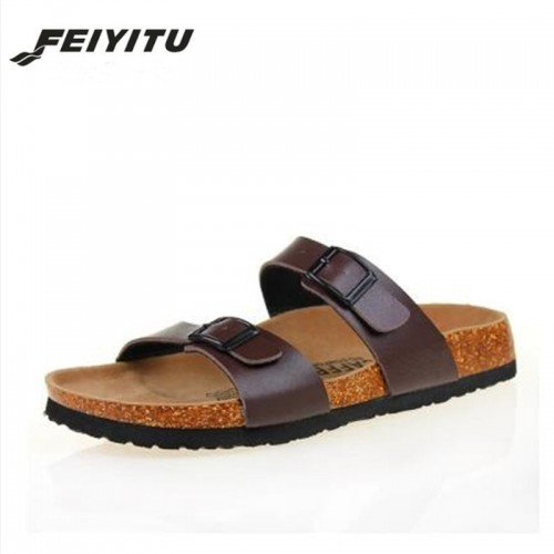 New Summer Man Beach Cork Slippers Casual Double Buckle Clogs Sandalias men Slip
