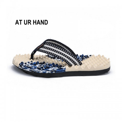 Summer Beach Slippers Men Shoes Flip Flops Patchwork EVA Stripe Outside Massage Slipper Male Soft Leisure