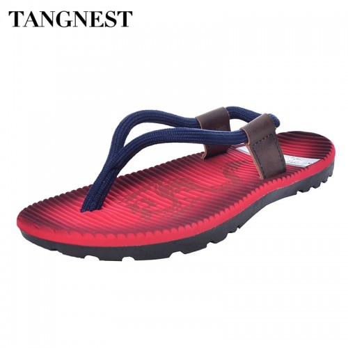 Tangnest Summer Men Flip Flops New Cross Rope Flat Sandals Male Beach Slippers Fashion Soft