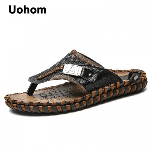 Uohom Brand Summer Beach Men Flip Flops Genuine Leather Slippers Male Flats Sandals outdoor Thong Beach