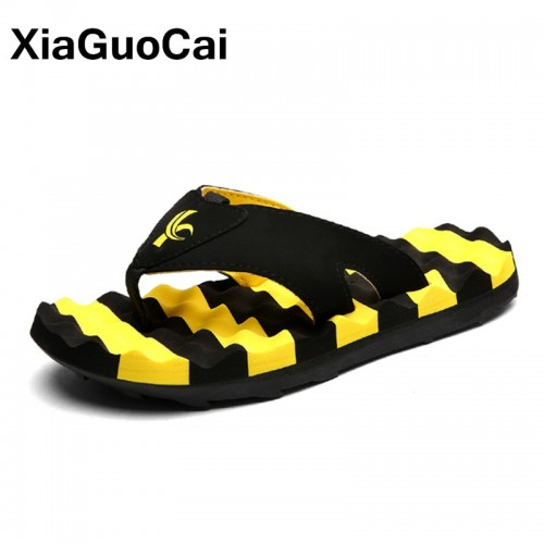 XiaGuoCai Summer Fashion Men Massage Slippers Non slip Flip Flops For Male