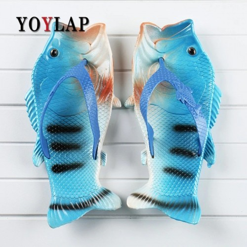 Yoylap New Summer Shoes Men Fish Slippers unisex Flip Flops Sandals Beach Personality Creative Slippers big