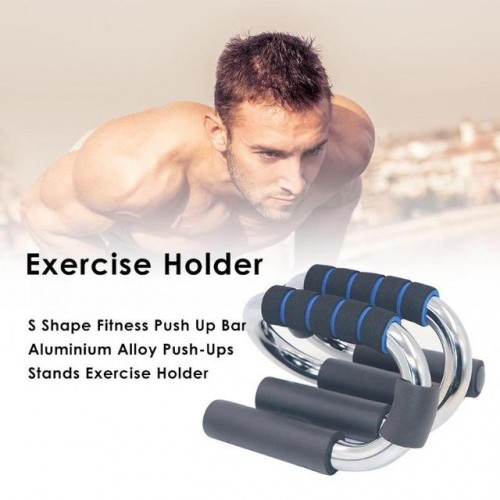 1Pair S Shape Fitness Push Up Bar Aluminium Alloy Push-Ups Stands Chest Muscle Expansion Exercise Holder