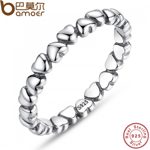 BAMOER 925 100 Solid Sterling Silver Forever Love Heart Finger Ring Original Jewelry NewYear Valentine s