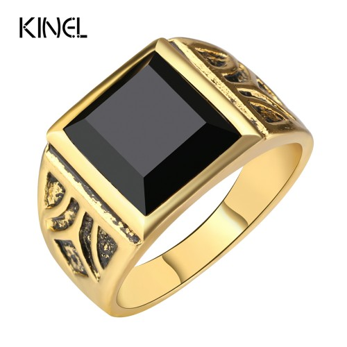 Kinel Dubai Fashion Gold Color Ring Men Wedding Paty Accessories Punk Black Ring Vintage Jewelry Wholesale