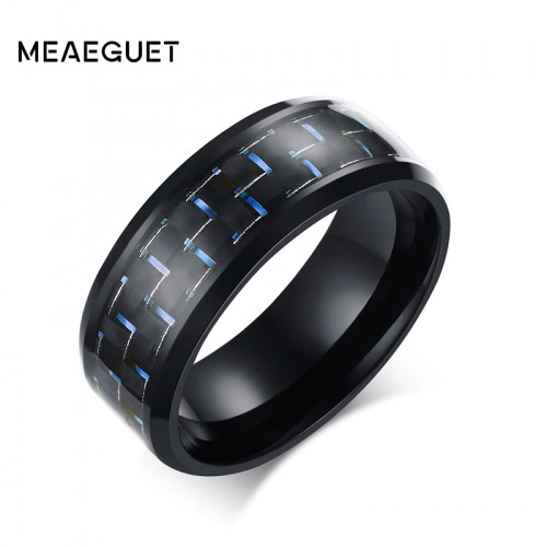 Meaeguet Jewelry Simple Blue Black Carbon Fiber Inlay Ring For Men Stainless Steel Wedding Band Engagement