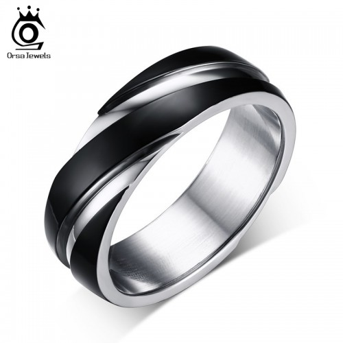 ORSA JEWELS 2017 New Fashion Daily Wear Rings Top Quality Lead Nickel Free Black Color Stainless